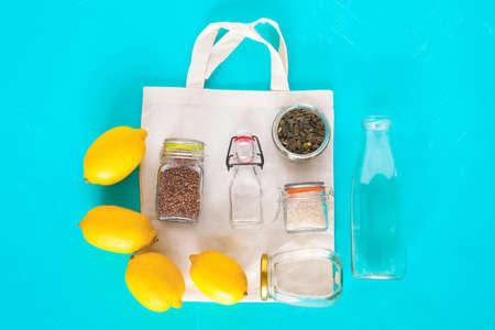 Zero waste concept. Cotton bag with glass kit for zero waste.