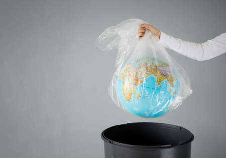 Planet earth in a plastic bag