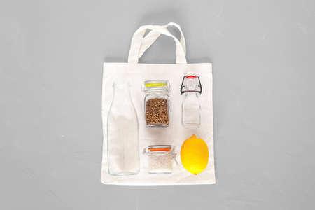 Flat lay objects of zero waste shopping lifestyle Banco de Imagens