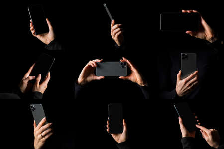 Collage of different photos of person holding mobile phone in hand, isolated on black background Stockfoto