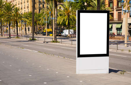Empty advertising stand mockup on street
