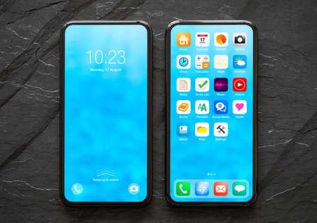 Modern mobile phone mockup with sample home screen visual design