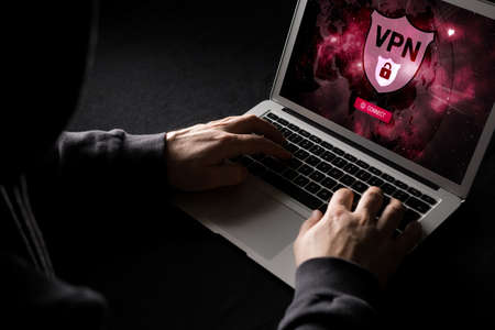 Man using VPN (Virtual Private Network) so surf internet anonymous Stock Photo