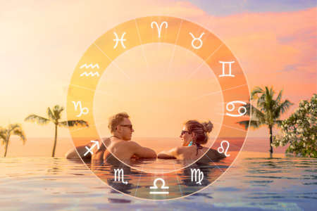 Conceptual photo of happy couple with perfect match and love compatibility between zodiac signs