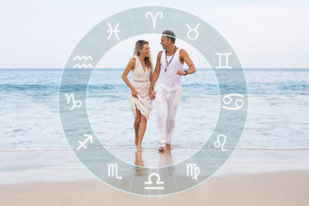 Happy couple with perfect zodiac sign match and love compatibility according to astrology
