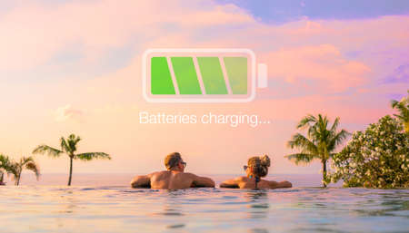 Couple relaxing on vacation, concept of taking a rest and charging your energy batteries