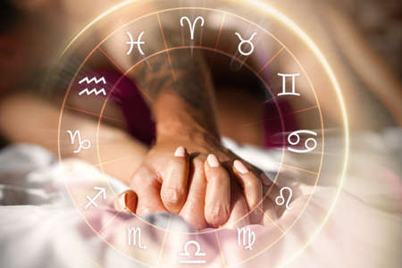 Concept of couple having perfect intimate match and love compatibility between zodiac signs