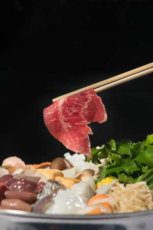 chop stick: sukiyaki set close up