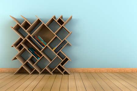 literas: estantería con libros en una pared de color azul claro y 3D interior piso de madera. Foto de archivo