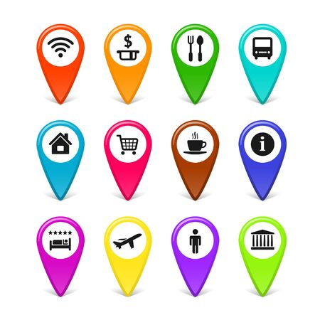 Vector Travel Tourism And Vacation Related Symbols Map Pins