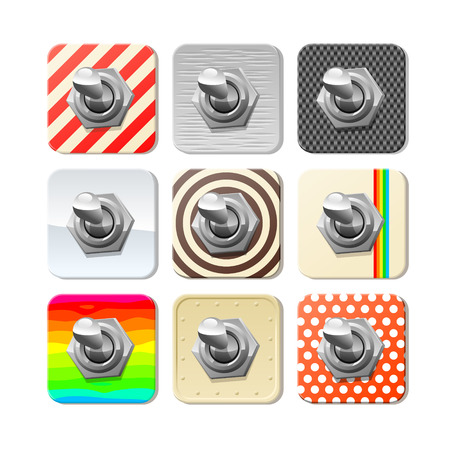 Panel toggle switches on various material panels - set of 9, vector illustration.