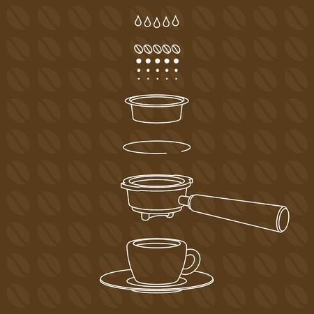 Vector espresso brewing scheme on brown coffee beans pattern background.