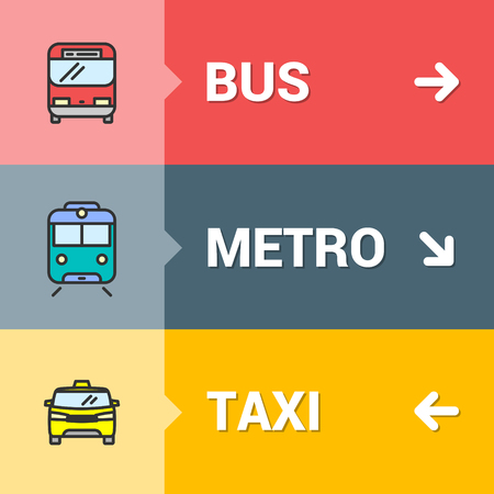 Bus, metro, taxi signs concept with color outline icons for your urban planning or transportation related project.