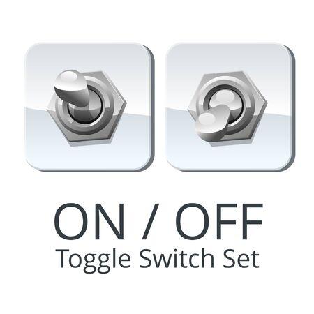 On off panel toggle switch set, polished metal, isolated illustration.