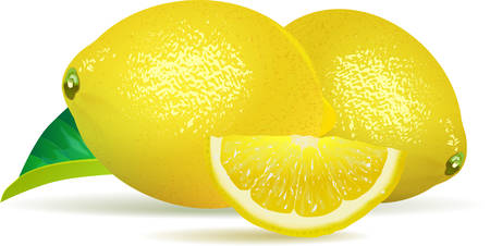 Lemons, green leaf and slice on a white background. Vector Image.