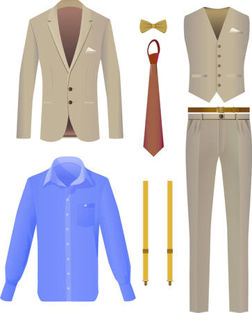 Suit business person on a white background. Vector Image.  イラスト・ベクター素材