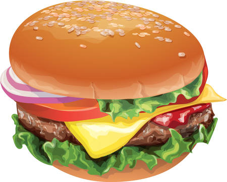sesame: Hamburger on a white background Illustration