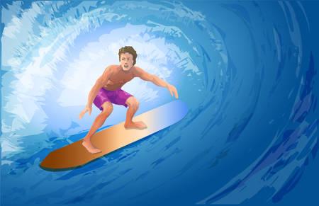 Athlete surfer on a big blue wave. Vector Image.