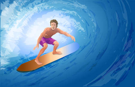 Athlete surfer on a big blue wave.