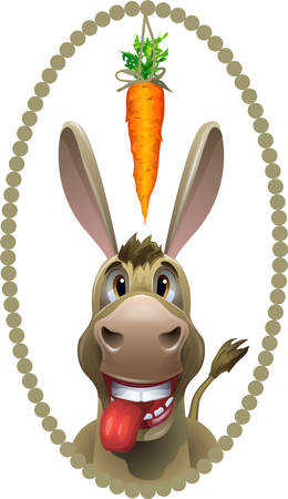 Donkey, running after a carrot  イラスト・ベクター素材