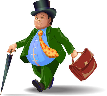The fat man holding a briefcase.  イラスト・ベクター素材