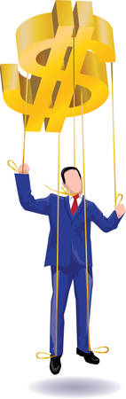 Businessman in the form of a puppet.