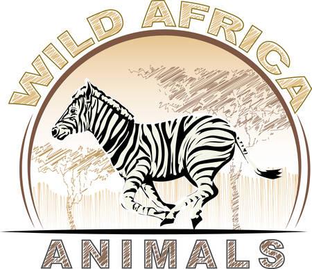Wild animal world of Africa - running zebra .