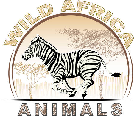 Wild animal world of Africa - running zebra .