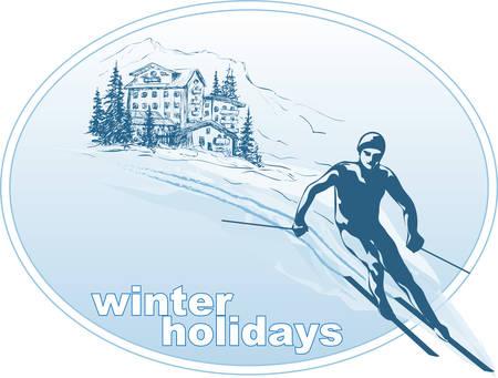 The winter vacation  イラスト・ベクター素材