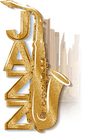 Saxophone on the background of the city