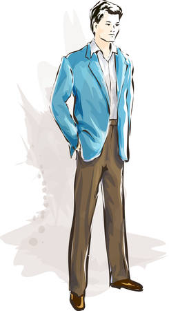 An elegant fashionable man in a suit  イラスト・ベクター素材