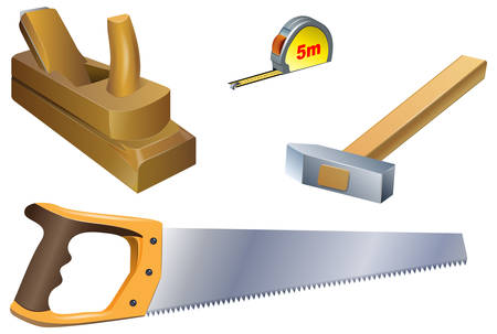 A set of carpentry tools: plane, tape measure, hammer, hacksaw on a white background. Vector image.  イラスト・ベクター素材