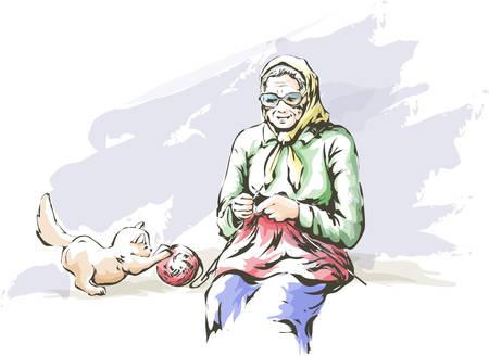 The grandmother knits sketch illustration.