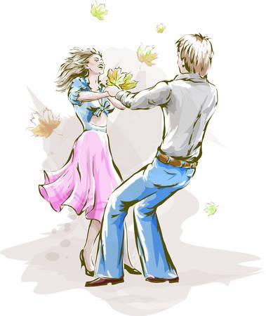Lovers swing in the dance 写真素材