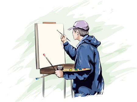 Drawing artist with brushes near the easel. Drawing by hand. Vector image.  イラスト・ベクター素材