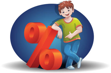 The boy shows the percentage of discounts, promotions, sales. Vector image.