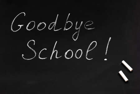 School is goodbye. Blackboard and chalk. End of the school year. High school graduation.