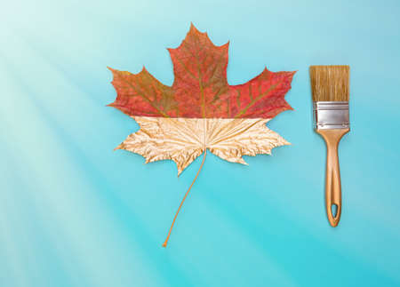 Brush and maple leaf on a blue background. Autumn concept, flat lay. Top view. Фото со стока