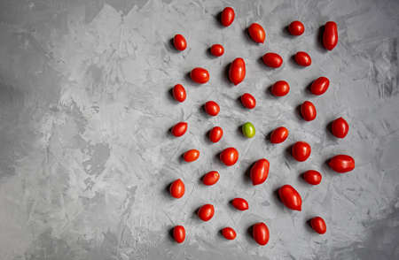 Red tomatoes and one green tomato on a gray background. Flat lay. The concept of uniqueness.