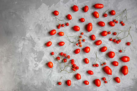 Red ripe tomatoes of different varieties and different sizes on a gray background. Minimalism. Фото со стока