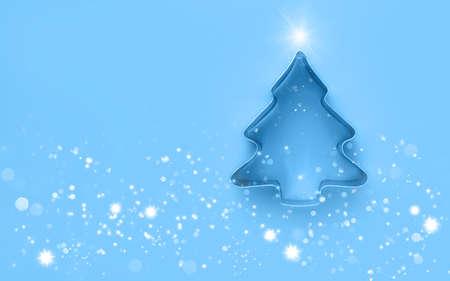 Minimalistic christmas background. Creative christmas tree. Flat lay. Copy spase.
