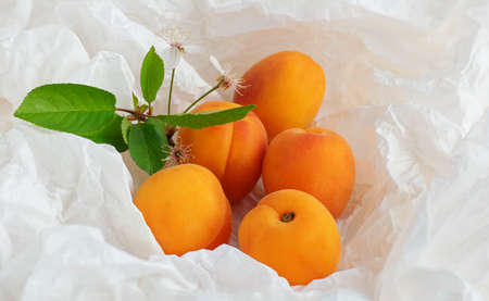 Apricots fruit on a sheet of crumpled packaging made of white paper, zero waste concept, close up.