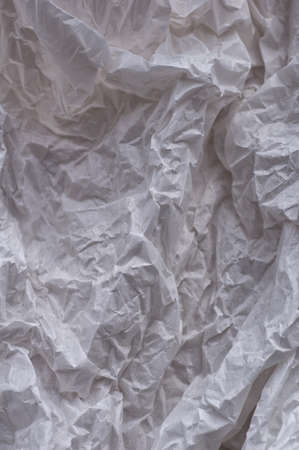 White crumpled paper background, texture for design. Template for creating packaging. Vertical crop. Close up. 免版税图像
