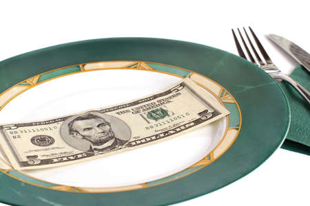 five dollars: five dollars on plate