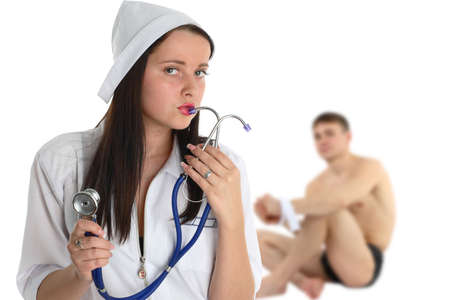 patient in hospital on consultation of the nurse sexy; play photo
