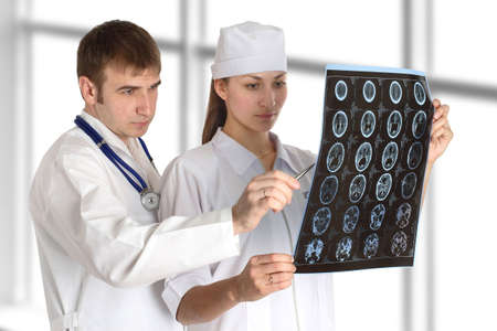 doctor and nurse studies picture in hospital photo