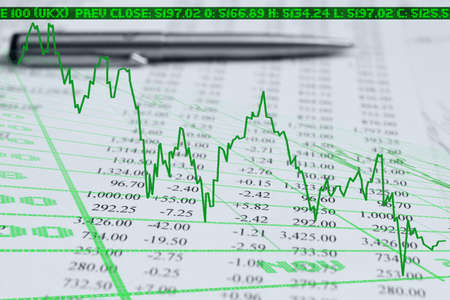 autograph: graphic falls of the index & documents and pen
