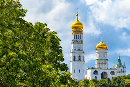 Russia. Moscow. Ivan the Great belltower. Kremlin. Belfry View from the Zaryadye park. Cathedral Square of the Moscow Kremlin. Churches of Moscow. Churches of Russia. Tours of the temples of Russia.