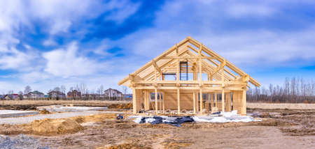 Home construction. Panorama of construction. Cottage structure. Panorama of the frame of the house. Construction in progress.