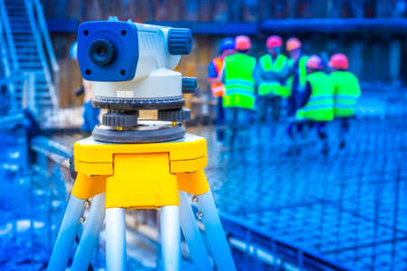 Earthworks. Topography Measurement of land. Theodolite.